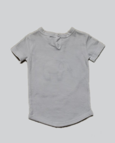 Razberry Q-T-Pie White Knit T-shirt with Elephant Embroidery