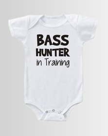 Qtees Africa Bass hunter in training White baby grow