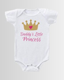 Qtees Africa Daddy's little Princess White baby grow