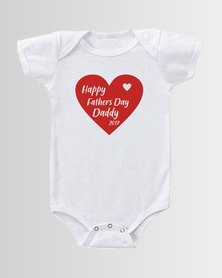 Qtees Africa Happy Fathers Day Daddy White baby grow