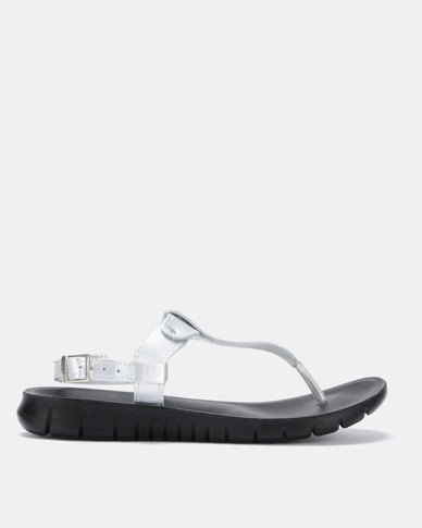 Angelsoft Sarah Comfort Leather Sandals Silver