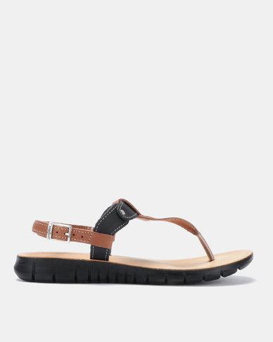 Angelsoft Sarah Comfort Leather Sandals Tan/Black/Tan