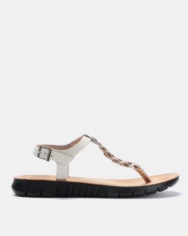 Angelsoft Jessica Comfort Leather Sandals Rosegold& Beige
