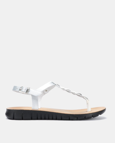 Angelsoft Jessica Comfort Leather Sandal White & Silver