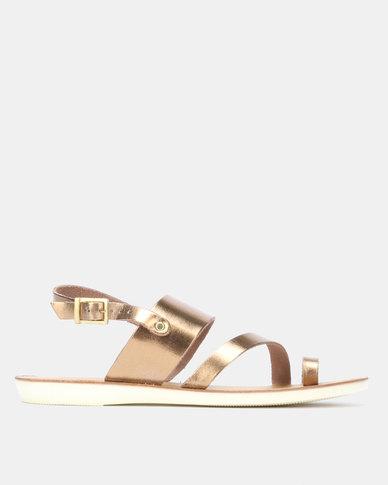 Angelsoft Ladies Leather Ella Flat Toe-Ring Sandal Bronze