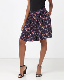 non-european® Buttoned Waistline Mini Navy Veld Flowers