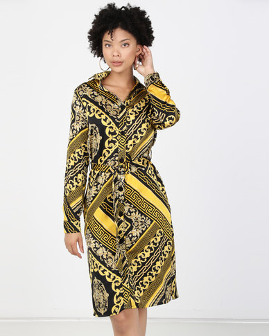 Paige Smith Chain Print Dress Gold