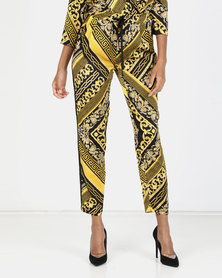 Paige Smith Chain Print Trousers Gold