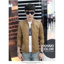 Popular Classic Men's Europe And The United States Wind PU Leather Men's Jacket-khaki