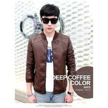 Popular Classic Men's Europe And The United States Wind PU Leather Men's Jacket-coffee