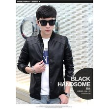 Popular Classic Men's Europe And The United States Wind PU Leather Men's Jacket-black