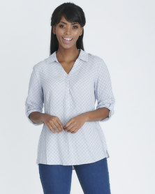 Contempo Printed Collared Henley Blouse White/Blue
