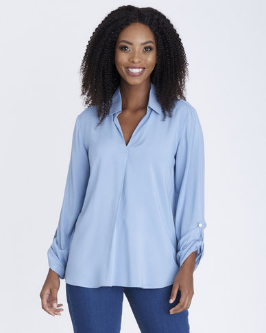 Contempo Viscose Top with Shoulder Trim Blue