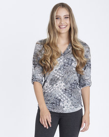 Contempo Printed Knit Henley Top Grey