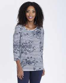 Contempo Stripe Embellished Top