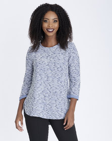 Contempo Textured Boucle Top Blue