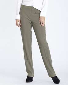 Contempo Straight Lleg Stretch Pants Khaki