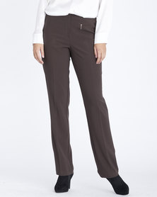 Contempo Straight Leg Stretch Pants Brown