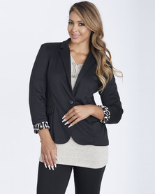 Contempo Animal Contrast Trim Jacket Black