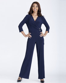 Contempo Mock Wrap Jumpsuit with Trim Blue