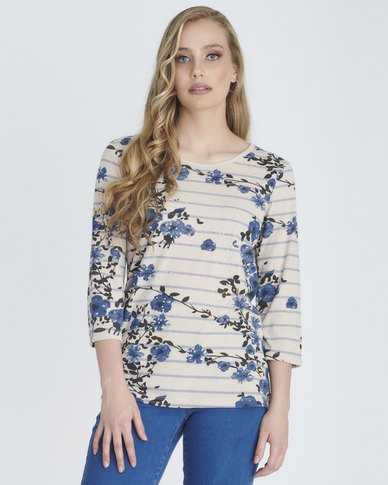 Contempo Stripe Embellished Top Stone