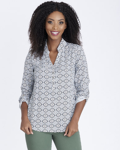 Contempo Printed Henley With Collar Ivory