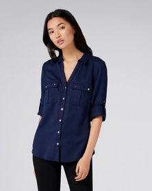 Forever New Lola Utility Roll Sleeve Shirt Navy