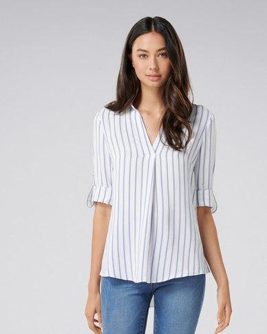 Forever New Amber Stripe Tuck Front Blouse Blue Stripe