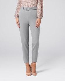 Forever New Emma Highwaist Self Belt Pants Grey Marle