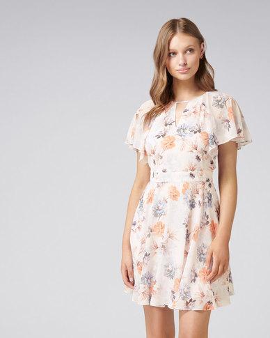 Venice Flutter Sleeve Dress Budding Floral Print