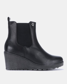 Bronx Women Alexi Ankle Wedge Heel Ankle Boots Black