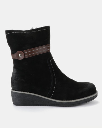 Grasshoppers Liliana Leather Ankle Boots Black