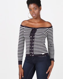 Sissy Boy Lace Up Knitwear Top Navy & White Stripe