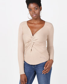 Sissy Boy Knot Detail Top Camel