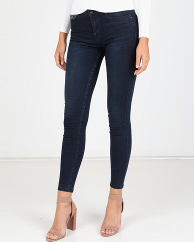 Sissy Boy Axel Mid-rise With Bling Skinny Jeans Blue Black