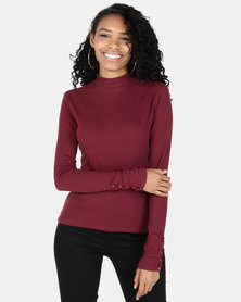 Utopia  Rib Top With Button Detail Burgundy