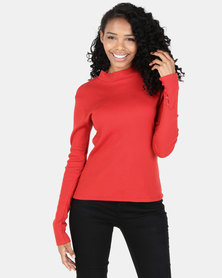 Utopia Rib Top With Button Detail Rust