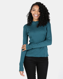 Utopia Rib Top With Button Detail Forest Green
