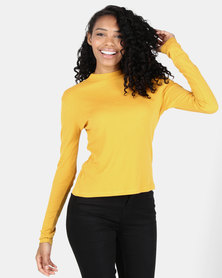 Utopia Rib Top With Button Detail Mustard