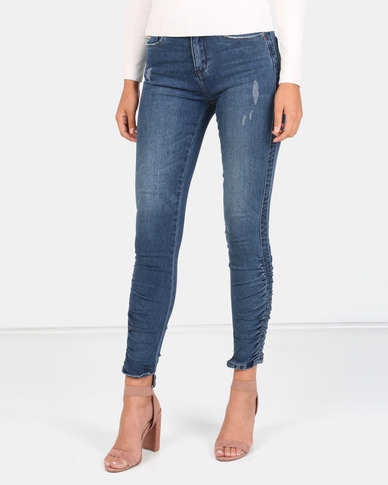 Sissy Boy Axel Mid-rise Side Seam Ruching Skinny Jeans Dark Blue