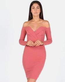 Sissy Boy Long Sleeve Bardot Mini Dress Red