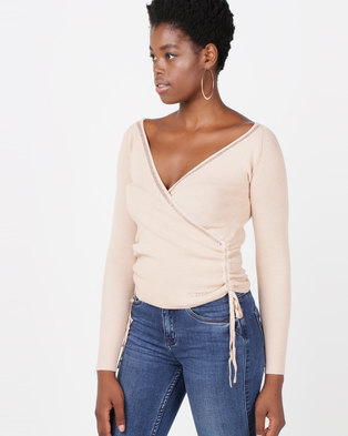Sissy Boy Assymetrical Wrap Knitwear Top Oatmeal