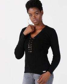 Sissy Boy Eyelet Detail Knitwear Top Black