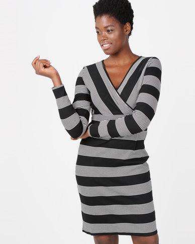 Smashed Lemon Monochrome Stripe Long Sleeve Dress Multi