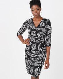 Smashed Lemon Monochrome Stripe  Dress Black & White