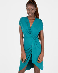 Utopia Mock Wrap Dress Forest Green