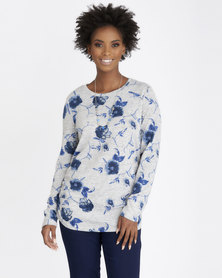 Contempo Cut & Sew Top with Neck Lace Blue