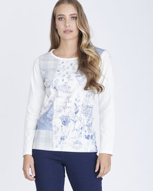 Contempo Patchwork & Buttery Print Tee Ivory