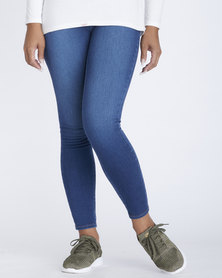 Contempo Knitted Denim Jeggings Blue
