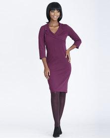 Contempo Mock Wrap Collared Dress Grape